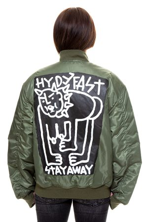 Hand Painted Stay Away Bomber Jacket – One Off #006